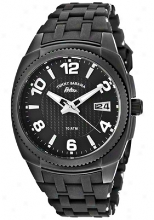 Tommy Bahama Relax Women's Reef Diver Black Textured/black Dial Black Silicone Rlx4004