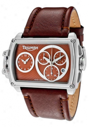 Triumph Motorcycles Men's Chronograph Brown Genuine Leather 3032-03