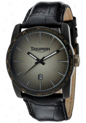 Triumph Motorcycles Men's Gold-black Gradient Dial Blackk Genuine Leather M9413006