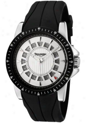 Triumph Motorcycles Men's White Dial Black Silicon 3060-02