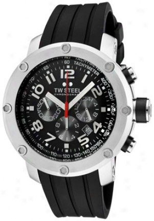 Tw Steel Men's Grandeur Tech Chronograph Black Dial Black Rubber Tw120