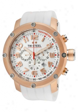 Tw Steel Men's Grandeur Tech Chronograph White Dial White Silicon eTw133