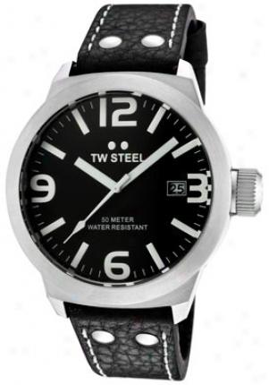 Tw Steel Men's Icon Black Dial Black Leather Tw622