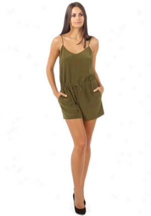 Twelfth Street By Cynthia Vincent Military Green Short Romper On-60420-army-8