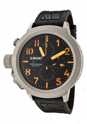 U-boat Men's Flightdeck Automatic/mechanical Chronograph Black Dual Black Leathef/rubber 5677