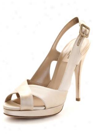 Valentino Biscuit Satin Slingback Sandals 5ws00876-ars-bi-39