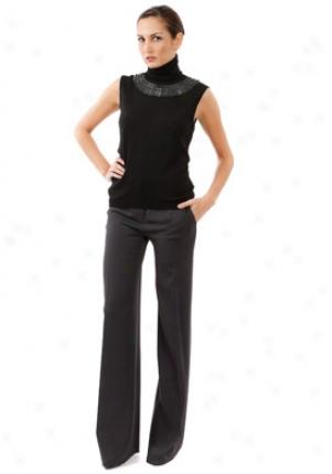 Valentino Black Embellished Wool Turtleneck Top Wtp-5ca99hq-blk-46