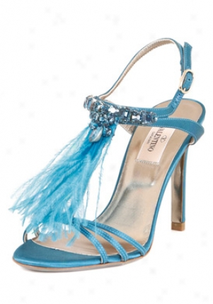 Valentino Blue Embellished & Feather Satin Sandals 4ws00754-ars-c37