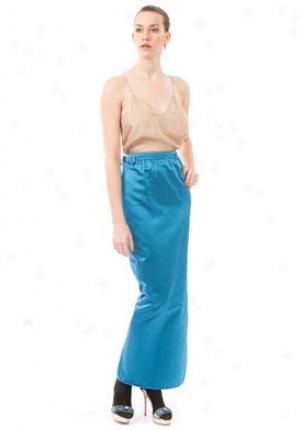 Valentino Blue Long Silk Skirt Wbt-4b0n62-pet-12
