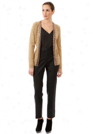 Valentino Camel Embellished Long Sleeve Wool Cardigan Wtp-5ba9q9b9-cam-s