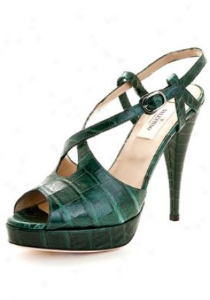 Valentino Green Crocodile Lezther Peep Toe Pumps 5ws00934-aco-g37.5
