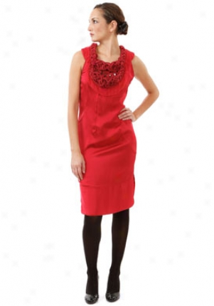 Valentino Red Embellished And Braided Neckline Dress Dr-4b0vs6c-red-10