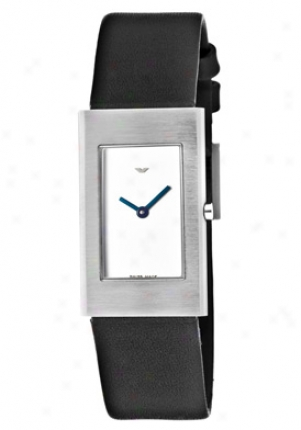 Ventura Women's Flat White Dial Black Genuine Leather Vf02l