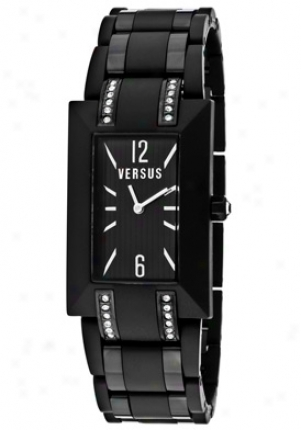 Versus Women's Aoyama White Crystal Black Textured Dial Black Resin & Blacl Ip Unsullied Steel 3c5630