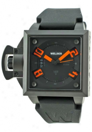 Welder Stainless Steel Black Dial Orange Index 40mm K25b-4500 Db Bk-or