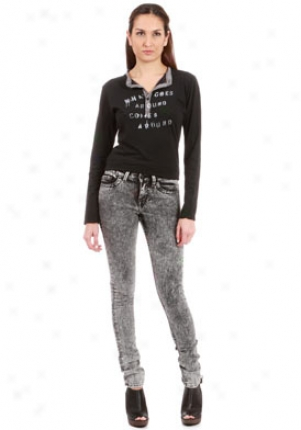 William Rast Jerri High Rise Black Acid Jeans Je-25900323