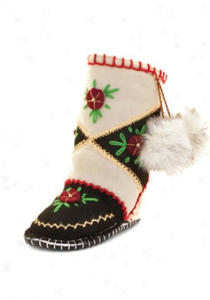 Woolensfocks Toddler Black & White Woogo Slipper Boots 272002-bblkwht-9