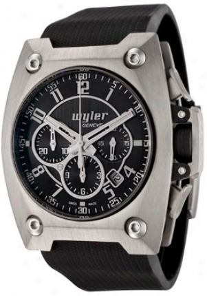 Wyler Gsneve Men's Code R Automatic Chronograph Black Dial Black Rubber 100.1.00.bb6.rba