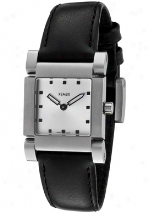 Xemex Women's Silver Sunray Dial Black Leatherette 2501.01