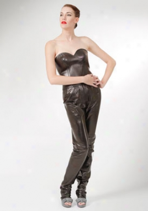 Yves Saint Laurent Brown Metallic Lether Bustier Top Wtp-320154-y5hd1-blk-38