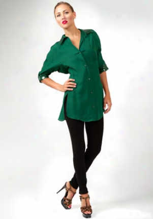 Yves Saint Laurent Emerald Green Silk Button Down Sequined Top Wtp-219831yfa01emer38