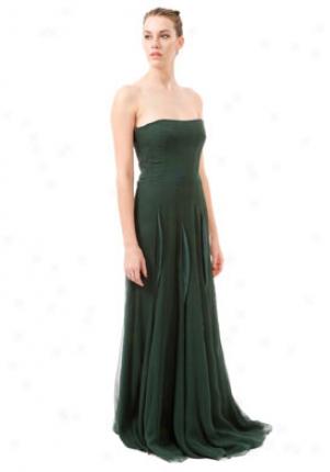 Yves Saint Laurent Green Strapless Long Silk Dress Dr-227209-ygb36-sharg-42