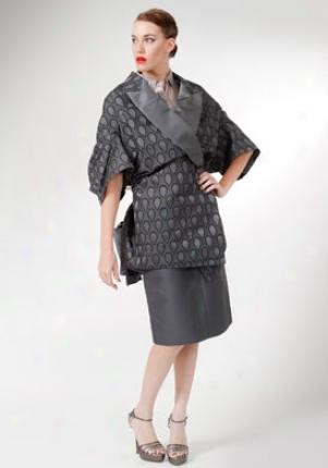 Yves Saint Laurent Grey Rain Drop Pribt Short Sleeve Coat Co-221723-yfd17-roadgr-l