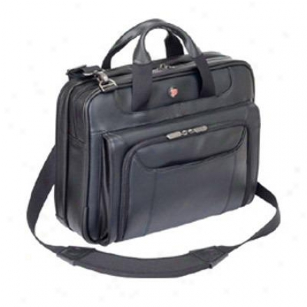 "14"" Leather Corporate Traveler Laptop Case - Black Cuct02ual"