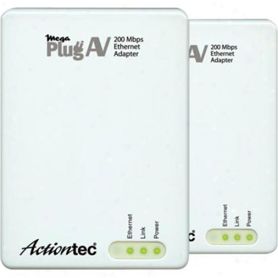 Actiontec Hle20003-01kp Megaplug A/v 200 Mbps Powerline Network Adapter Kit