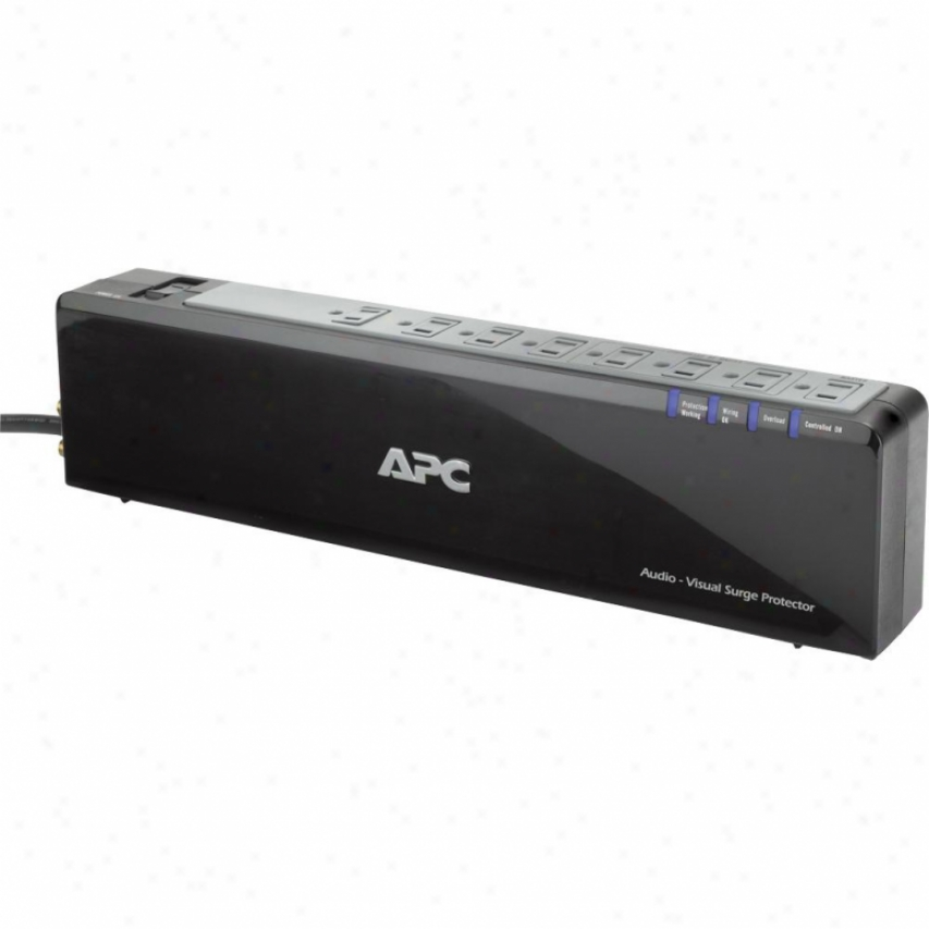 Apc 8-outlet 120v Premium Audio/video Surge Protector W/ Coax Protection - P8v