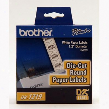 "Brother 1/2"" Round Paper Labels"