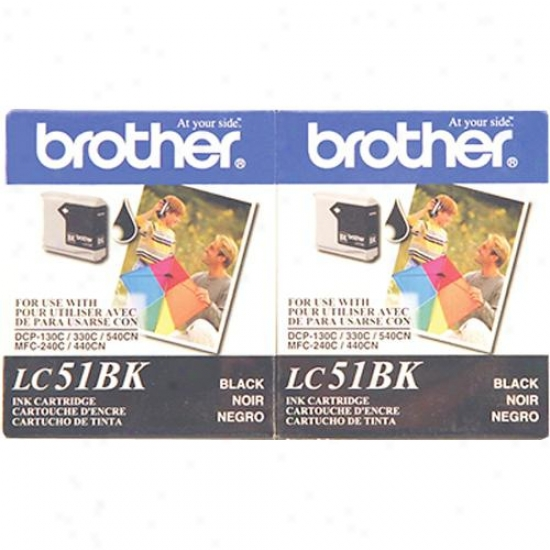 Brother Lc51bk2pks Lc51 2-pack Of Black Ink Printer Cartridges - Replacement
