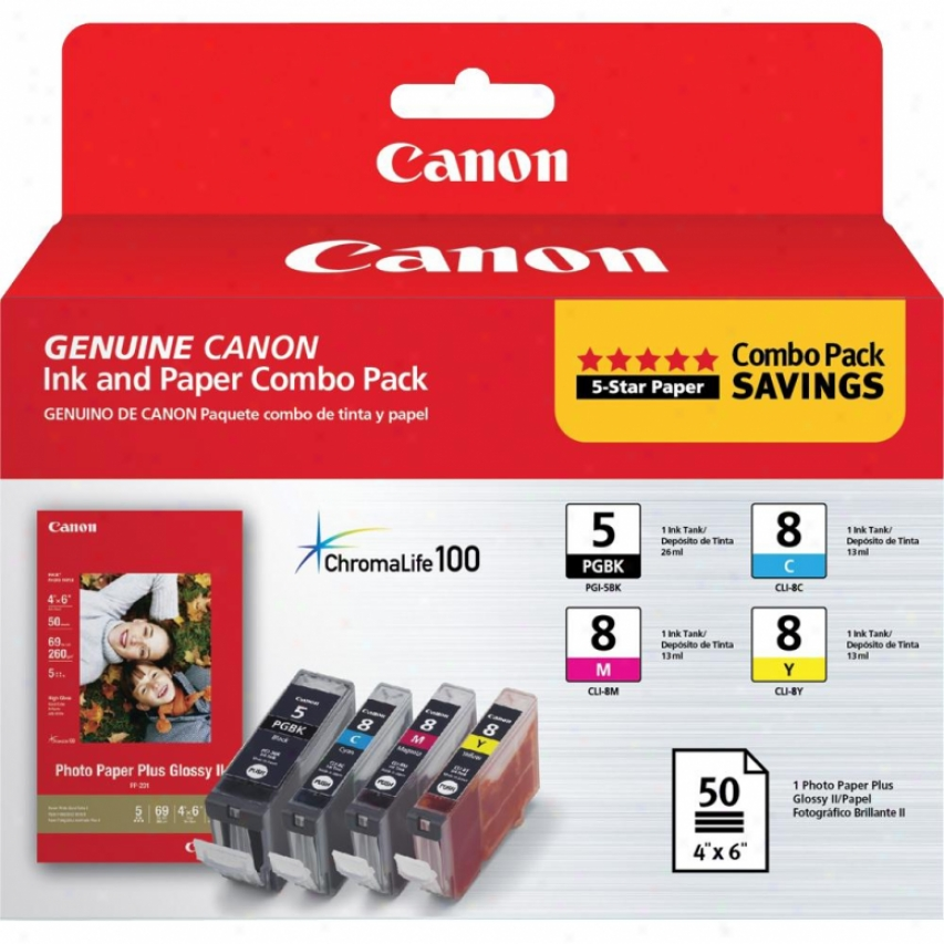 "Canon 0628b027 Pgi-5 / Cli-8 Combo Pack With Pp-201 4""x6"" Paper"