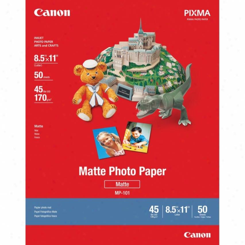 """Canon 7981a004 8.5"""" X 11"""" Letter A Size Matte Photo Paper - 50 Pieces"""
