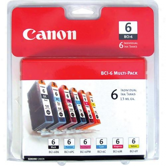 Canon Bci-6 Six Pack Ink Cartridges For Digital Photo Printers