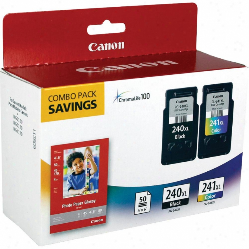Canon Pg-240 & Cl-241 Ink Cartridges With Photo Paper