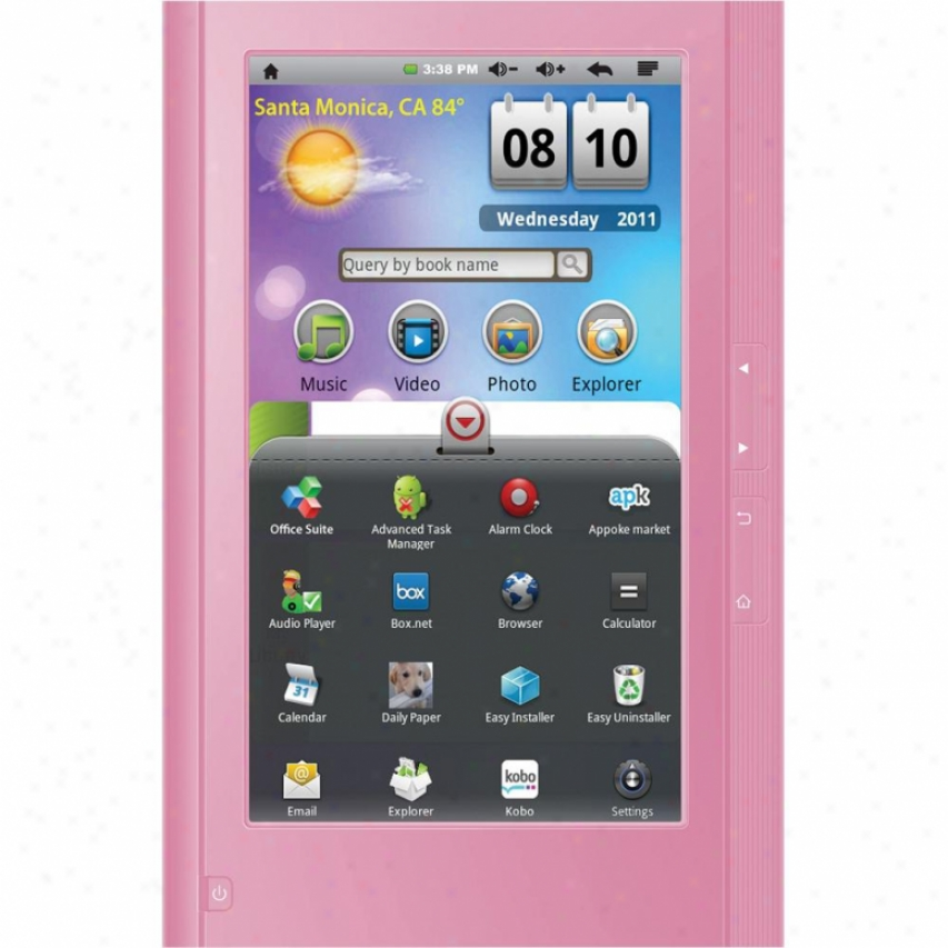 "Ematic Ebw204 Eglide Reader 2 7"" Color Touch Screen Android Tablet - Pink"