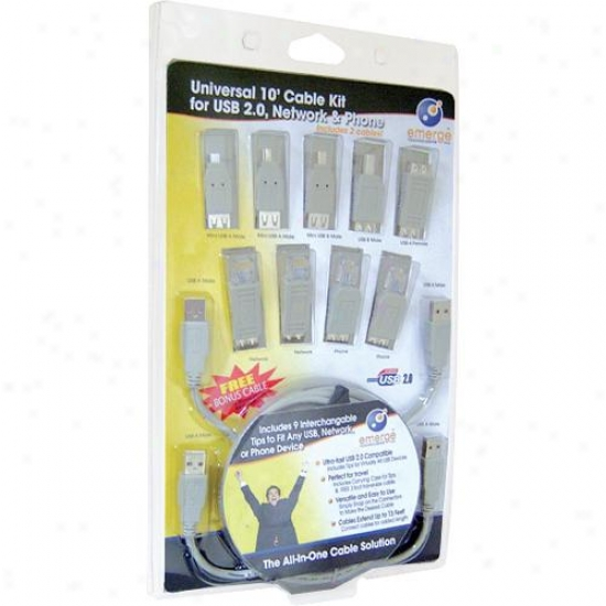 Emerge Technologies 10 Foot Usb 2.0 Universal Cable Kit