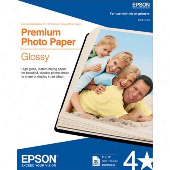 """Epson 8"""" X 10"""" Premium Glossy Photo Paper (20-pack)"""