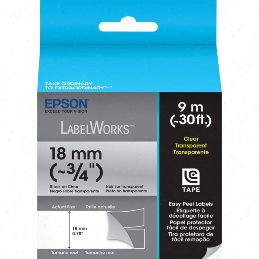 """Epson Labelworks Clear Lc Tape Cartridge ~3/4"""" Black On Clear"""