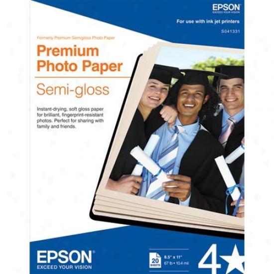 "Epson S041331 8.5"" X 11.0"" Premium Semigloss Photo Paper"