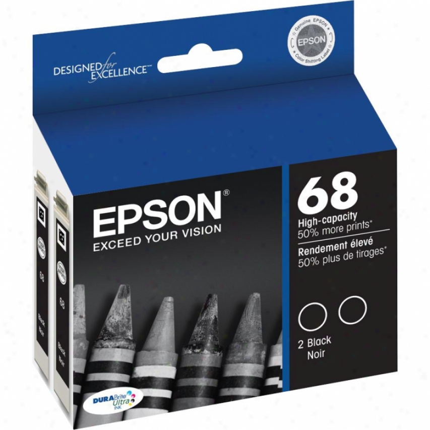 Epson T068120-d2 Durabrite Hi-capacity Dual-pack Ink Cartridge - Black