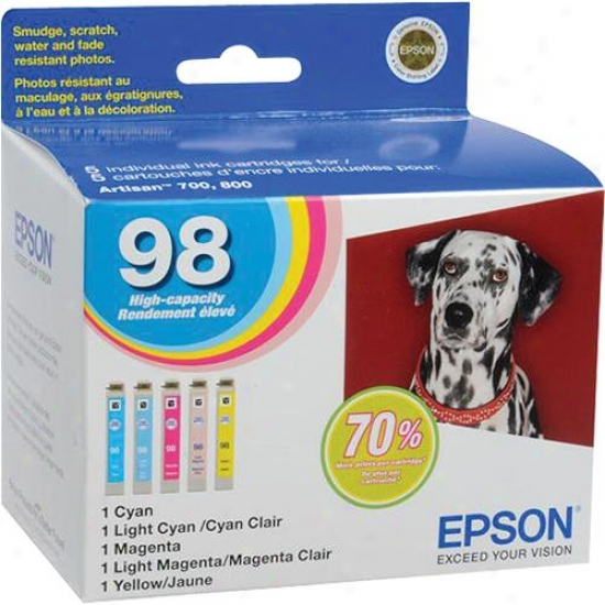 Epson T098920 Hi-capacity 5 Color Multipack Cmycm For Artisan 700/800 Series