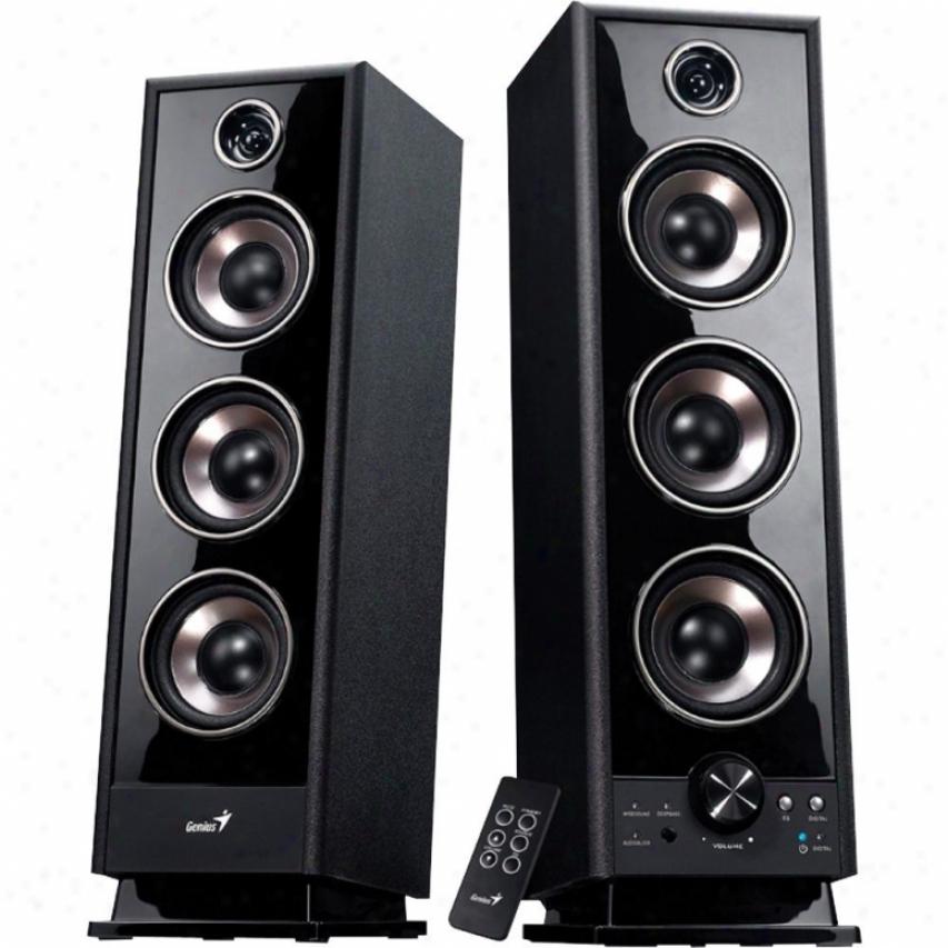 Genius Products Sp-hf2020 60w 4 Wsy Wood Speakers - Black
