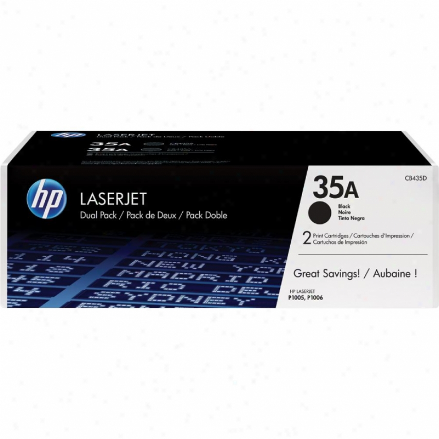 Hp Black Toner Cartridge Twin Pack, 35a Cb435ad