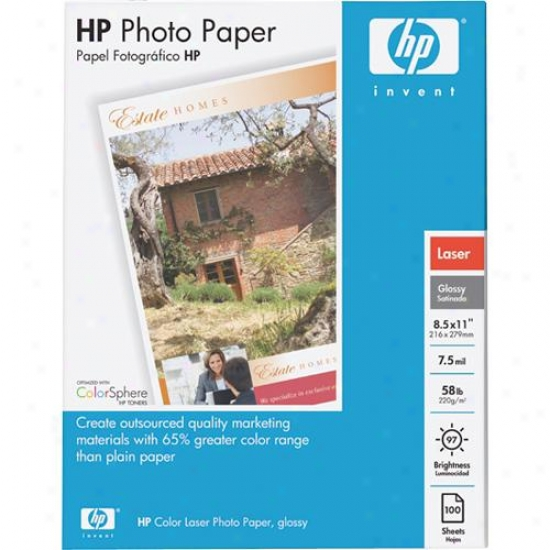 Hp Color Laser Glossy Photo Document, 100 Sheets, 8.5 X 11-inch