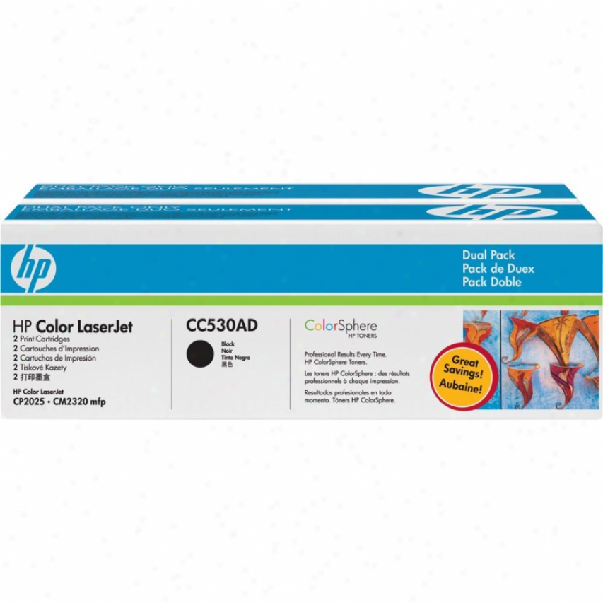 Hp Color Laserjet Cc530ad Dual Pack Black Print Cartridge W/ Colorsphere Toner