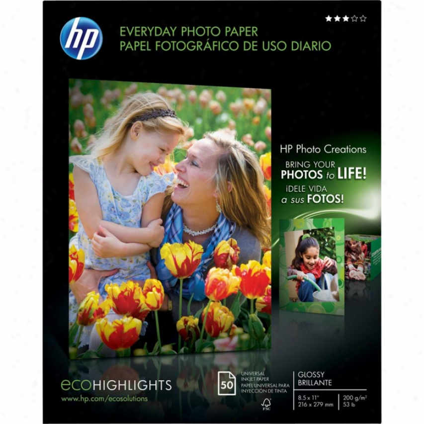 "Hp Everyday Photo Paper - Glossy - 5 Sheets - 85"" X 11"" - Q8723a"