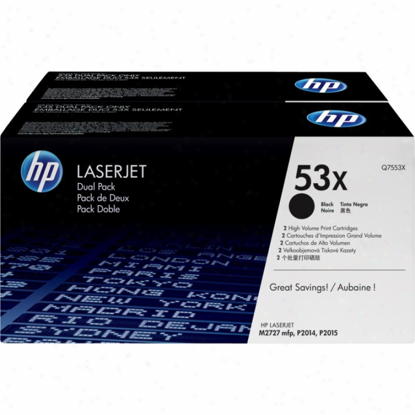 H0 Laseejet 53x Dual Pack Print Cartridge Q7553xd