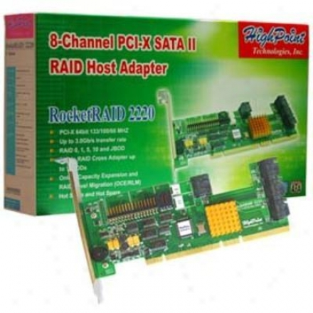 Hpt Usa/highpoint Tech Rocketraid2220 8 Channel Pcix